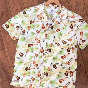 NWT Funky Guitar Aloha Shirt